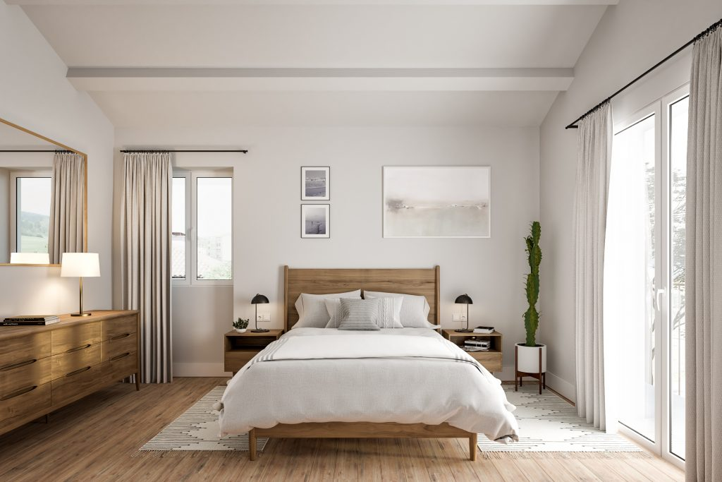 architectural render of bedroom