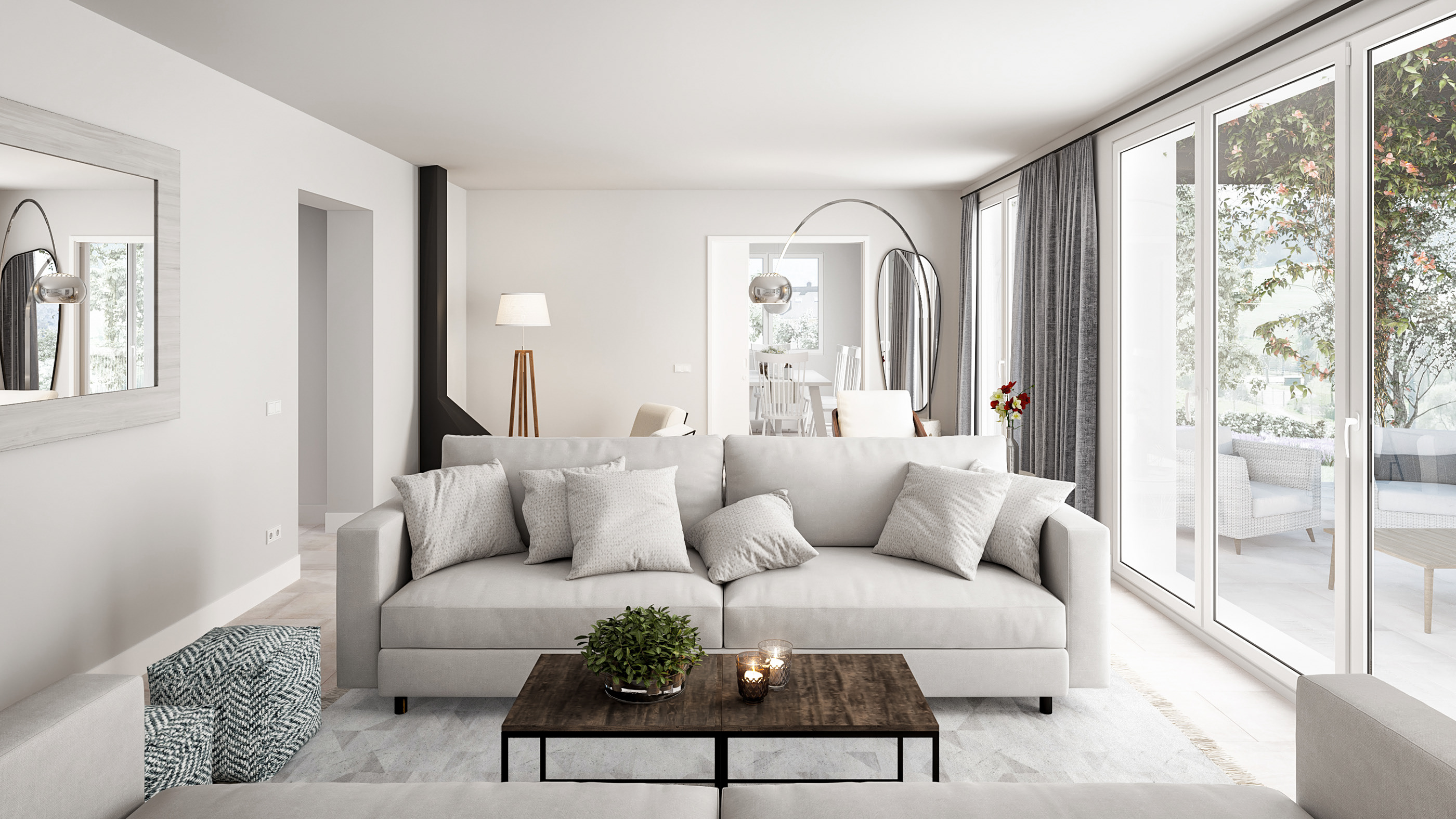 architectural visualization of a living room