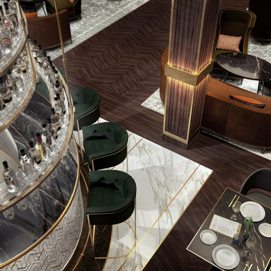 architectural display of hotel bar