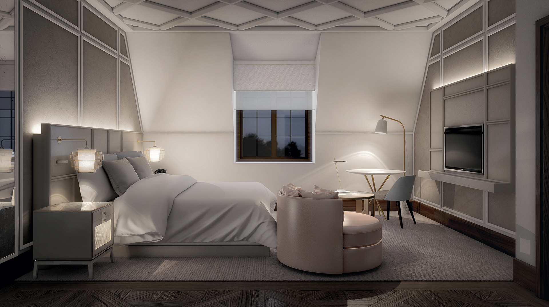 visualización arquitectónica de dormitorio