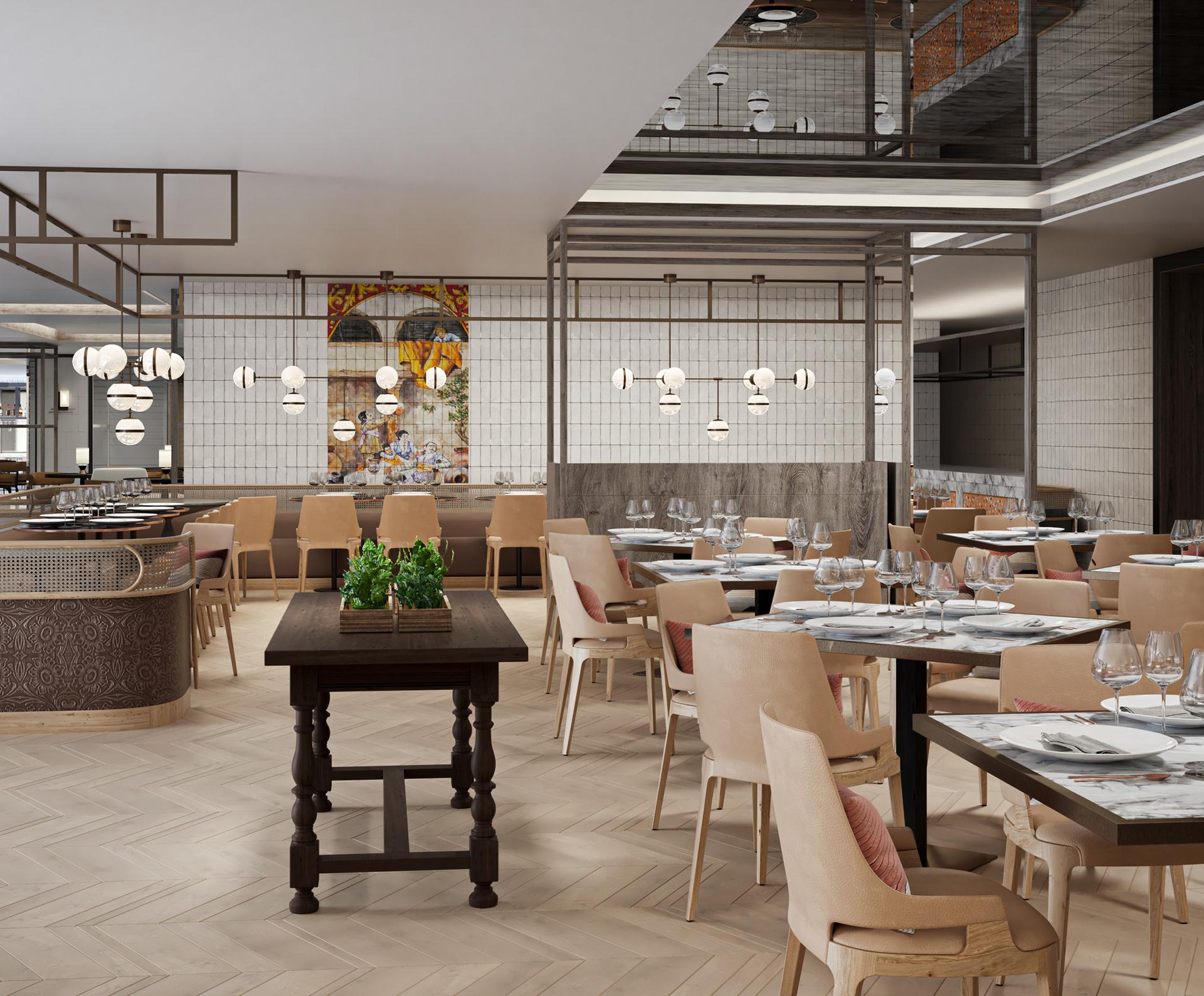 visualización arquitectónica de comedor de hotel