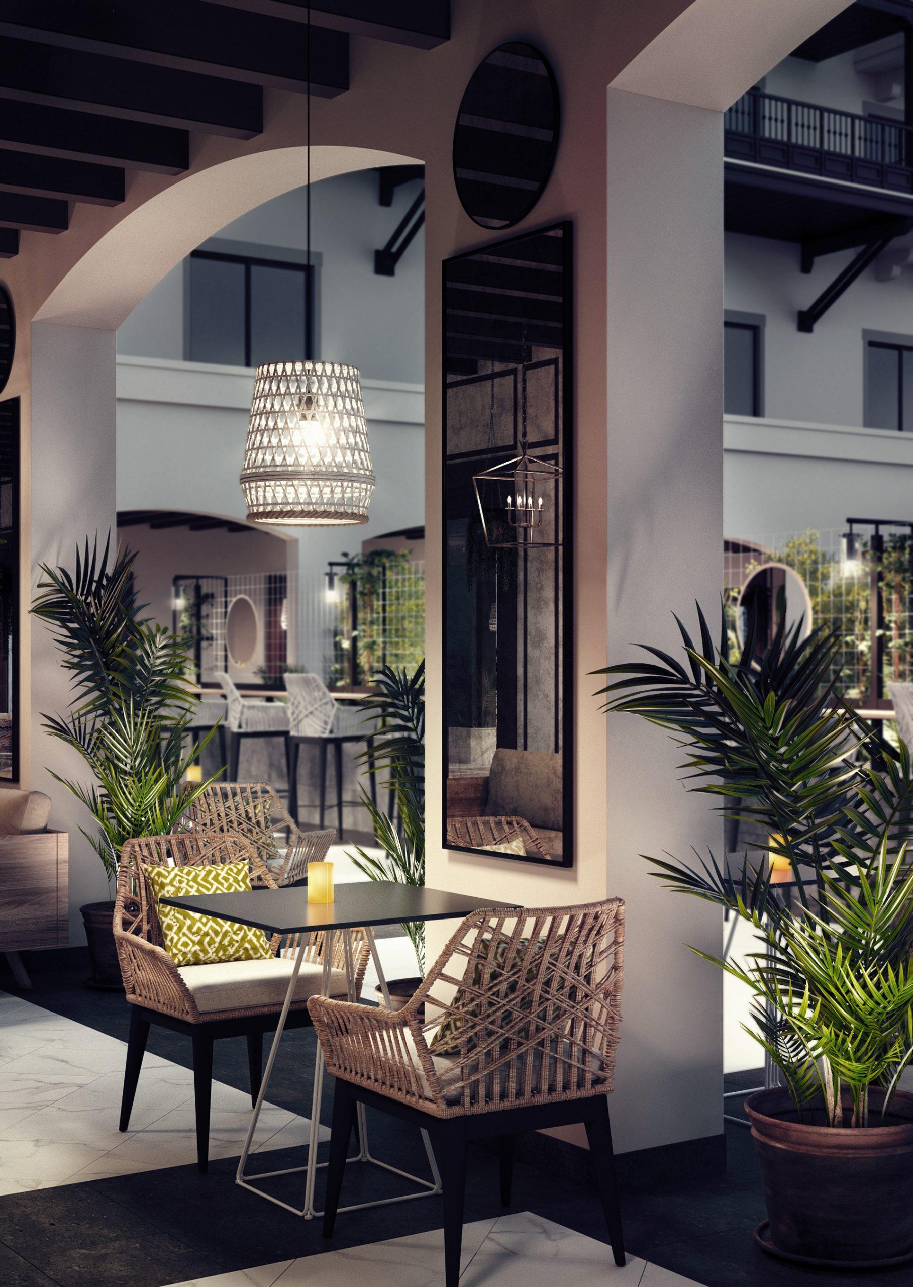 visualización arquitectónica de hotel